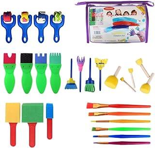TOYANDONA 26PCS Children Painting Brushes Set Washable Finger Paints Sponges Supplies Educational Seal Painting Tools for ...
