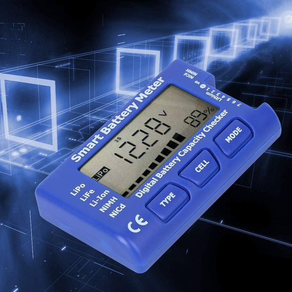 Battery Meter Intelligent Cell Meter Digital 5-In-1 Voltage Balance with LCD Backlight Display for Detection