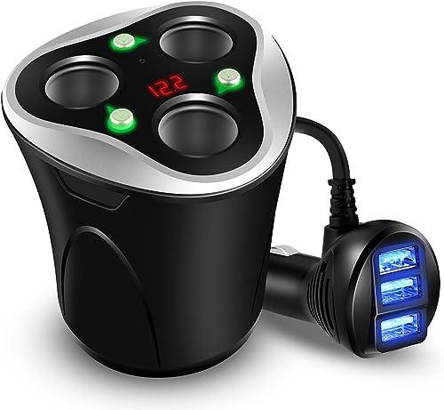3 Prises Allume Cigare Adaptateur + 3 Ports USB Chargeur de Voiture, 120W 12/24V avec Affichage LED de Voltage Sépare...
