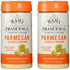 Mama Francesca Premium Cheese GMO and Gluten Free Parmesan Asiago & Romano Aged over 10 months in small batches for premium flavor