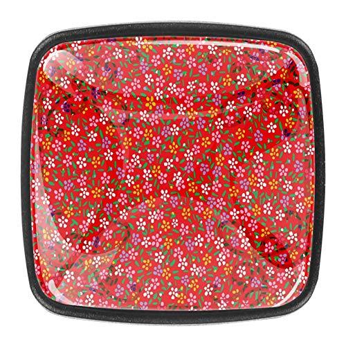 Knauf für Schrank / Schublade, japanische Blumen, bunt, Kristallglas, 4 Stück