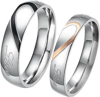 JewelryWe Coppia Anello Rotondo da Uomo Donna,Promessa Real Love per Amore Cuore Dipinto Fidanzamento Matrimonio San Valen...