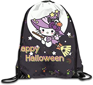 LIUYAN Drawstring Backpack Happy Halloween Hello Kitty Rucksack Shoulder Bags Sport Gym Bag for Men Women