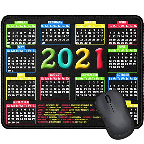 Mouse Pad with Stitched Edge Computer Mouse Pad with NonSlip Rubber Base Mouse Pads for Computers Laptop Mouse 96x79x01 inch 2021 Calendar Black