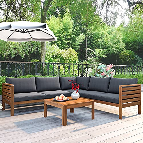 4 Piece Outdoor Patio Furniture Set, Acacia Wood Sectional Sofa w/Seat Cushions, Patio Sectional Conversation Seat with Couches and Coffee Table