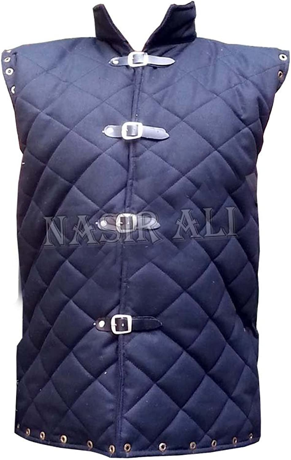 Nasir Ali Professional Model Thick Black color Gambeson Medieval Padded Collar Sleevesless Armor