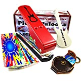Pick-a-Palooza DIY Guitar Pick Punch Mega Gift Pack - the Premium Pick Maker - Leather Key Chain Pick Holder, 15 Pick Strips and a Guitar File - Red