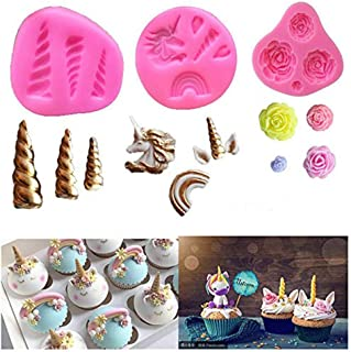 Mini Unicorn Mold Silicone Unicorn Horn Ears Flower and Rainbow Cupcake Topper Fondant for Birthday Party DIY Cake Decoration Cookies Jelly Chocolate Making(3 Pack)