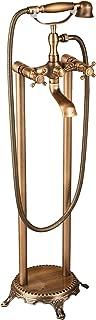 Senlesen Floor Mount Free Standing Tub Filler Tap Bathtub Mixer Faucet with Handheld Sprayer Antique Brass
