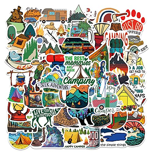 Outdoor Camping Stickers for Water Bottle 50pcs, Waterproof Vinyl Adventure Hiking Stickers for Adults Teens Girls Boys Camper, Wilderness Nature Forest Decals for Hydroflask Laptop Cup Suitcase Bike