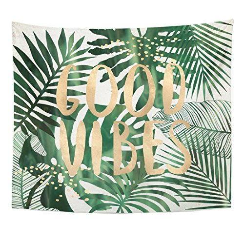 Emvency Tapestry Green Beach Good Vibes Quote Tropical Leaves Wall Collage Home Decor Wall Hanging for Living Room Bedroom Dorm 50x60 Inches