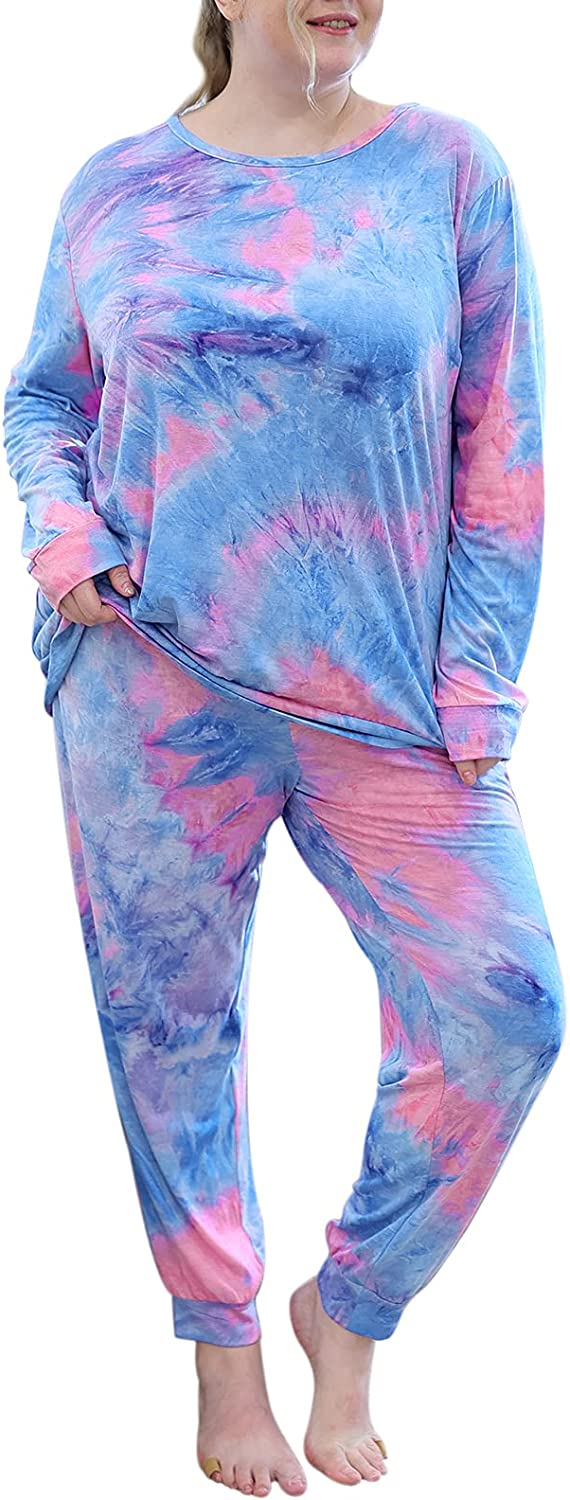 Celkuser Women' s Plus Sales results No. 1 Size Cheap mail order specialty store Short Pajamas Tie Pr Sleeve Dye