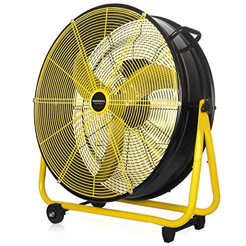 VENTISOL 24 Inch Energy Efficiency 120W Heavy Duty Drum Fan with Aluminum Blades 3 Speeds Powerful Airflow for Industrial Garage Shop Workshop Basement Black