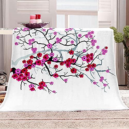 Rama de Flor Manta para Sofa 3D Flor roja Reversible Manta Estampata Cálida y Suave Manta de Oficina Mantas sólida para Cama sofá 180x200cm