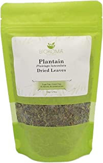 100% Pure and Organic Biokoma Plantain Dried Leaves 50g (1.76oz) in Resealable Moisture Proof Pouch