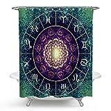 KISY Ombre Mandala Blume Stoff Wasserdicht Bad Duschvorhang Sternzeichen Konstellation Hippie Bierschaum Textur Indische Psychedelic Badezimmer Duschvorhang Standard Gr??e 177,8 x 177,8 cm, T¨¹rkis