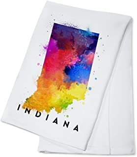 Indiana - State Abstract Watercolor (100% Cotton Kitchen Towel)