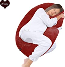 Coozly Alpha Full Body Maternity Pillow - Maternity Pillow with Removable Cover (Velvet Red, Velvet Cover)