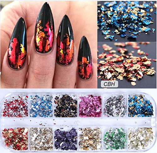 12-Grille Nail Platinum Fragments Nail Sequins Flakes Ultra-mince Coloré Glitter Autocollant, Pour Nail Art Décoration (CBH)