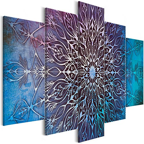 murando Cuadro en Lienzo Mandala 200x100 cm Impresión de 5 Piezas Material Tejido no Tejido Impresión Artística Imagen Gráfica Decoracion de Pared Oriente f-A-0663-b-o