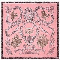 SGJFZD 53センチメートル* 53センチメートルファッションデザインのシルクスカーフリッチツリー新シルクサテン素材レディースシミュレーションシルク春と夏の小型スクエアスカーフスカーフ (Color : ピンク, サイズ : 53cm)