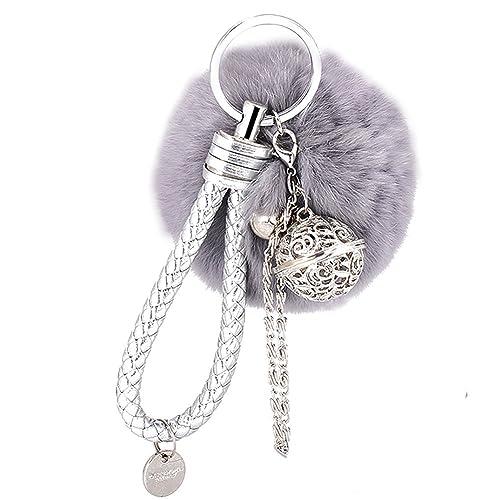 Schlüsselanhänger Plüsch Pompom Ball Weich Keychain Handtaschenanhänger Dekor Pusheng (Grau1)