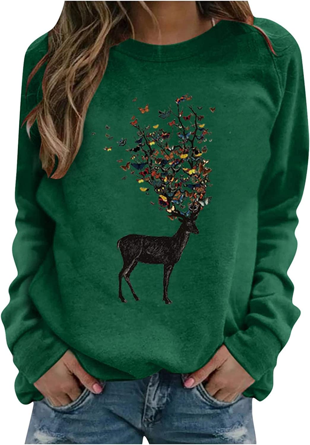 Toeava Long Sleeve Shirts for Women Casual Elk Butterfly Graphic Tee Shirts Crew Neck Sweatshirts Pullover Tunic Tops