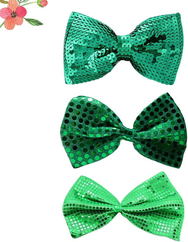 3PCS Fashion St. Patrick's Day Clover Shamrock Bowties for Men Grooms Wedding Party Carnival (Random Style) for Party Supplies