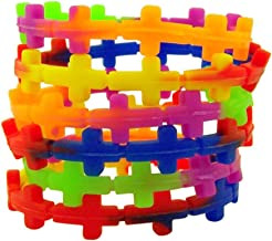 Religious Jewelry Multi Color Silicone Sideways Cross Stretchable Bracelet, Pack of 24, 8 Inch
