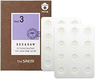 [the SAEM] SEE & SAW A.C Control Spot Patch 24 Sheets - Absorbing Hydrocolloid Blemish Spot Skin Treatment for Troubled Skin, High Adhesiveness Waterproof Spot Healing Zit Cover Dot Stickers