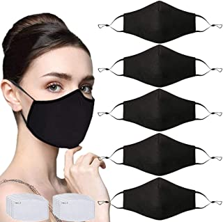 5 Pcs Adult Unisex Reusable Washable Adjustable Face Protection with Filter Pocket and Nose Wire Breathable Cotton Dust Cloth with 10Pcs Replacement Carbon Filters for Man and Women(Black)