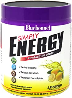 Bluebonnet Nutrition Simply Energy Powder, Lemon, 10.58 Ounce