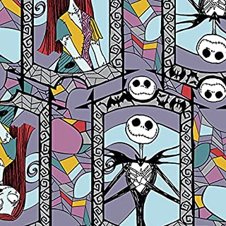 Nightmare Before Christmas Cotton Fabric - Sally and Jack Stained Glass by the yard