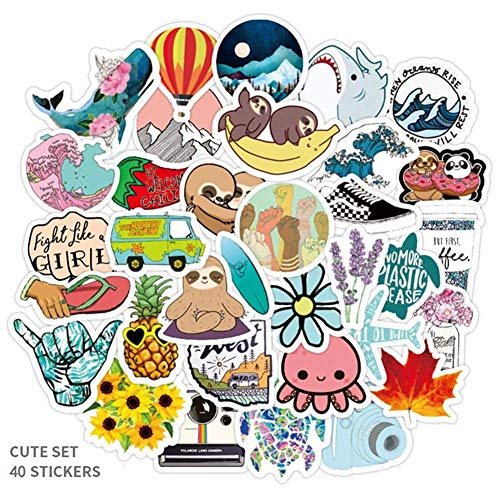 Aixingwuzi 40Pcs Packung Einfaches Mädchen Süß Cartoon VSC0 Sticker Aufkleber DIY für Laptop Gepäck Guaitar Skateboard Spielzeug Wasserfest Sticker
