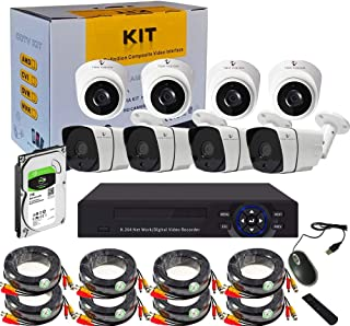 Tomvision 8CH 1080P 5-in-1 DVR Video Surveillance Online View System with 1TB HDD Pre-Installed and 4 Outdoor IP66 Weather...