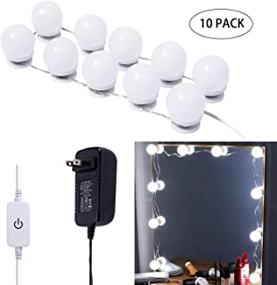 AIBOO Hollywood LED Vanity Mirror Lights Kit,Stick on Dimmable Makeup Lights, 12V Mirror Lighting Strip Fixture for Vanity Dressing Table Set, Bedroom Wall Lights,CRI>90 (4000K Natural White,10 Bulbs)