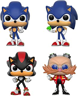 Funko Pop Games Sonic - Sonic w/ Ring, Sonic w/ Emerald, Shadow, Dr. Eggman Vinyl Figures Set