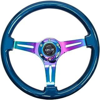 NRG Innovations Blue Wood Wheel, 350mm, 3 Spoke Center in NEO Chrome Steering Wheel