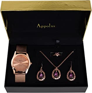 Gifts For Women - Best Gift for Mom Wife Girlfriend Birthday Graduation Anniversary - Appolus Watch Necklace Earrings Ring Set Rose GoldTone