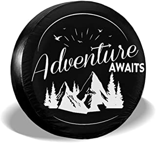 Adventure Awaits Tire Cover 14''15'' 16'' 17'' JP-6 Universal Auto Vehicle Spare Wheel Tire Tyre Cover for Jeep PVC Leather Universal Spare Tire Cover for Jeep Ford Hummer