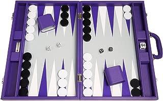 Silverman & Co. 19-inch Premium Backgammon Set - Large Size - Purple Board
