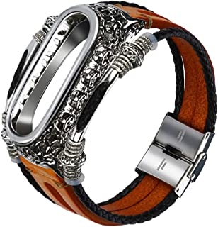 Cocity New Release Retro Leather Wristband Wrist Strap Watchband Watch Loop Watch Band Strap for Xiaomi Mi Band 4 with Metal Case