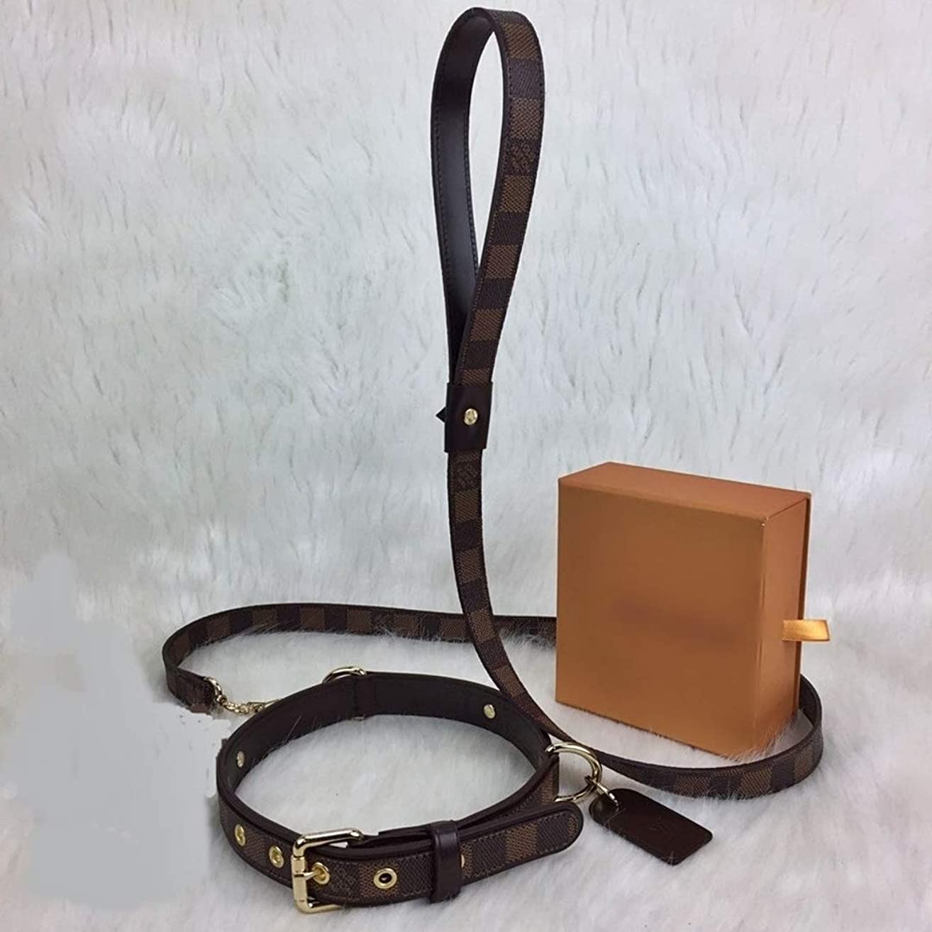 Brown Damier Ebene L*uis V*itton Leather Dog Collar & Leash HandMade by - DesignerBomb.