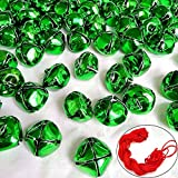 Y wang 100Pack Green Jingle Bells Christmas 1inch Craft Bells Green Bells for Christmas & Party & Festival Decorations with 27m Red Cord
