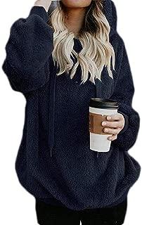 Macondoo Women Thick Casual Pullover Fleece Hoodies Sweatshirts