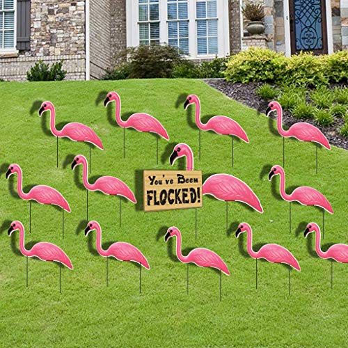 VictoryStore Outdoor Yard Sign Stakes - Flamingo Flocking - Pink Flamingo You've Been Flocked Set. 4mm Corrugated Plastic-stores and totes flat, easy to use