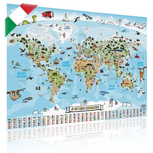 GOODS+GADGETS Mappa panoramica del Mondo per Bambini XXL - 140x100cm Mappa del Mondo per Bambini Completamente Disegnata a Mano e Colorata (Italiano)