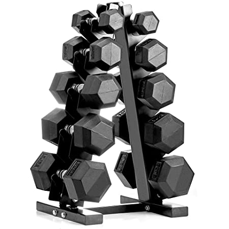 Amazon.com : papababe 150LB Dumbbell Set with A-Frame Dumbbell Rack Rubber  Encased Hex Dumbbell Free Weights Dumbbells Set Home Weight Set (A Pair of  5 10 15 20 25 LB Dumbbell with