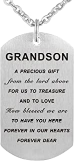 Kisseason Stainless Steel Inspirational Letter Words Jewelry Gift to My Grandson Dog Tag Keychain Pendant Necklace
