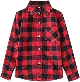 Girls' Long Sleeves Plaid Button Down Shirt, 18M-12 Years